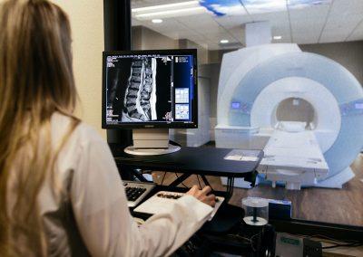 Operator working on MRI scans at Sierra Neurosurgery imaging center Reno NV